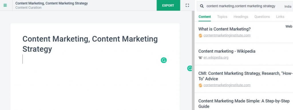 Content curation process using frase.io