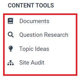 Content tools of frase