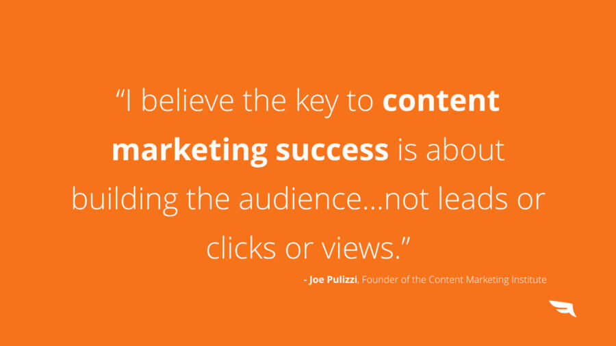 Content marketing is a audience first and product second approach