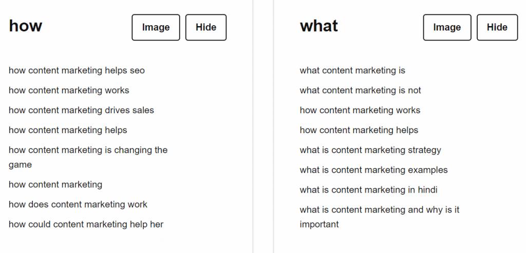 Answerthepublic content ideas