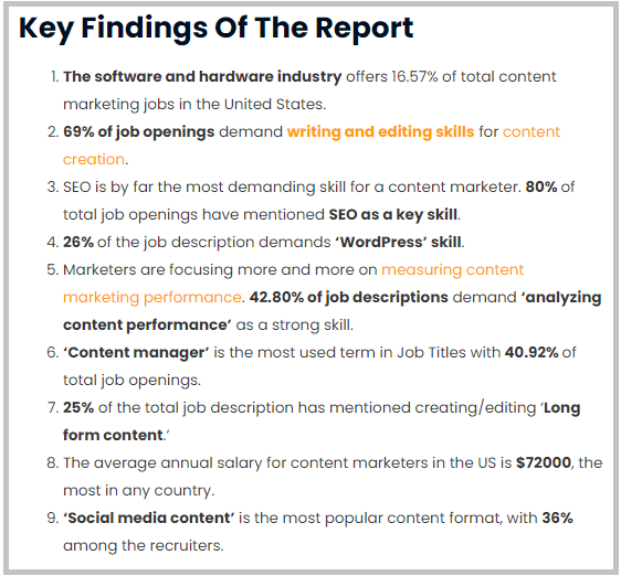 compile data or key findings of a report