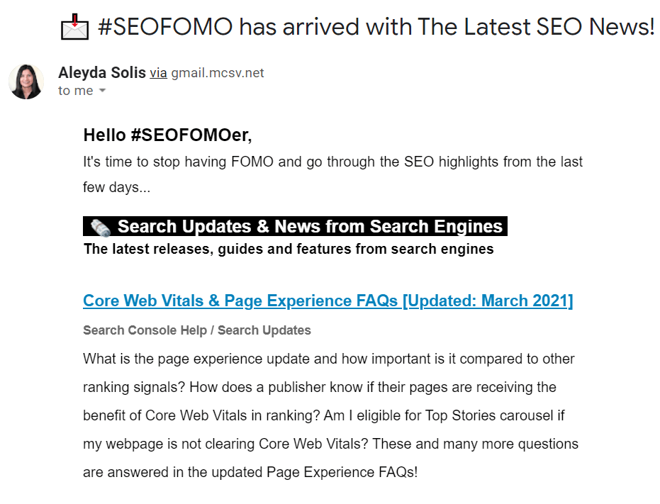 SEOFOMO newsletter by aleyda solis