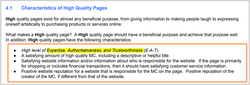 characteristics of high quality pages, according to the quality raters guideline