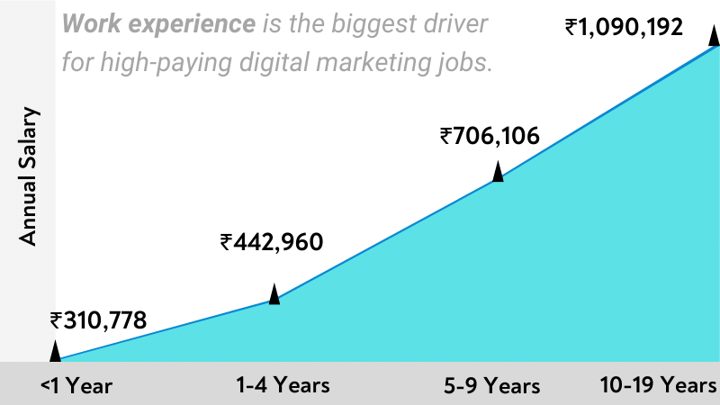 Work experience is the biggest driver for high-paying digital marketing jobs.